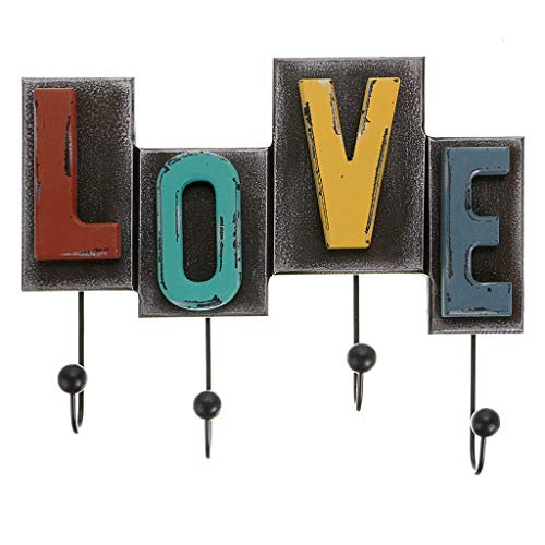 OwnMy Rustic Retro Style Wall Decor Hooks Vintage Coat Rack Wood Love Letter Design Decorative Wall Mount Coat Hanger Hooks