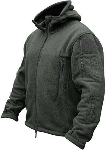 TACVASEN Herren Fleecejacke Military Outdoor Winddichte Jacke mit Kapuze- Gr. S, Grau