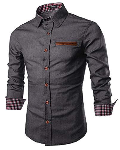 COOFANDY Men Regular fit Long-Sleeve Denim Work Shirt Classic Western Snap Shirt
