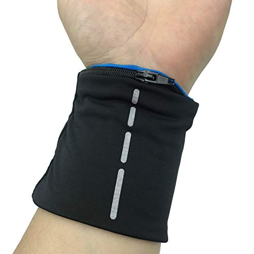boshiho Unisex Zippered Wristband Pouch Runner's Wrist Pocket Reversible Wrist Wallet (Black & Blue)