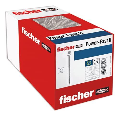 Fischer 670527 FPF II, tornillos para madera, Rosca parcial de 6,0x80, Cincados...