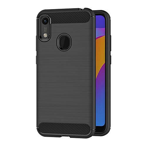 AICEK Hülle Compatible Honor 8A / Huawei Y6 2019, Schwarz Silikon Handyhülle für Honor 8A / Huawei Y6 2019 Schutzhülle Karbon Optik Soft Hülle (6,09 Zoll)