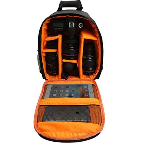 XJPB Bolso de Mochila de la cámara para cámara sin Espejo DSLR/SLR a Prueba de Agua, Caja de cámara multifunción Compatible para Sony Canon Nikon Cámara y Lente Accesorios de trípode,Naranja
