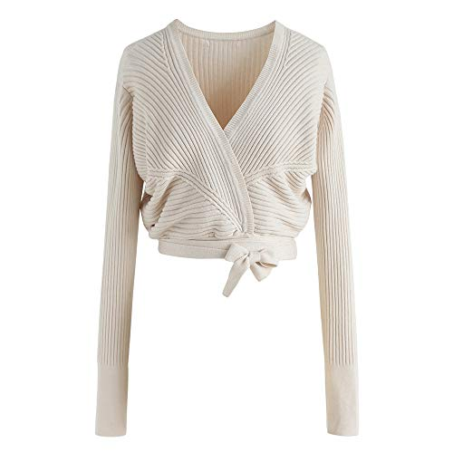 Chicwish Women's Ivory Self-Tied V Neck Wrap Soft Knit Crop Top Sweater