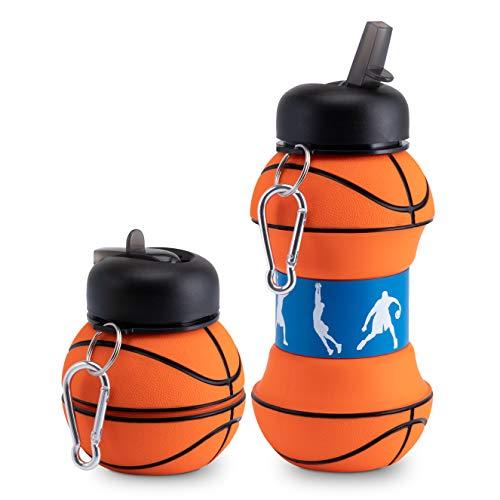 ELYFLAIR Botella para niños, sin BPA, apta para lavavajillas, para escuela, ocio y deporte, incluye mosquetón, plegable, botella de baloncesto