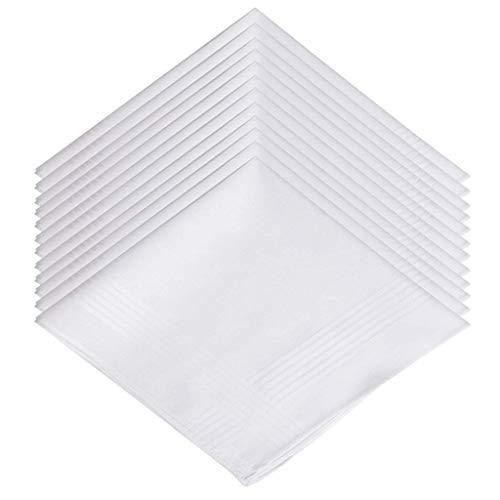 Pañuelos Hombre,Pañuelo de Bolsillo 12 piezas Algodón Bolsillo de Traje de Hombres para Boda Fiesta Otras Ocasiones 15 * 15 pulgada