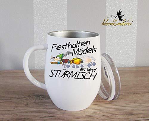 Thermobecher Kaffeebecher mit Spruch und Namen: Festhalten Mädels es wird stürmisch, Geschenk, Bürotasse, Tasse mit Namen, Geschenk Kollegen