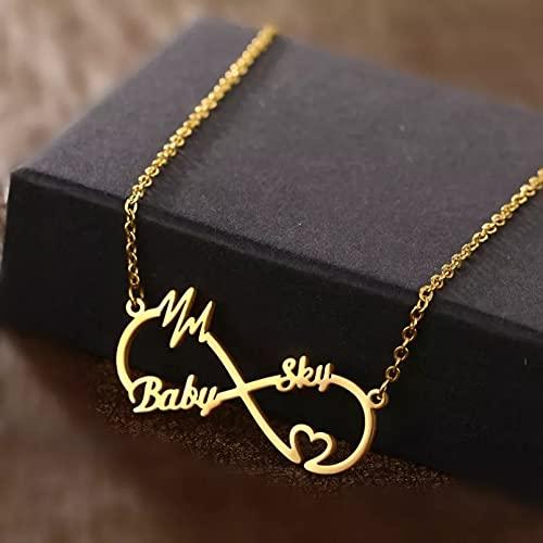 chenyueshangmao Collar Colgante Collar Collar romántico Personalizado Dos Placas Promesa Collares con dijes para joyería de Mujer Ajustable Collar Amistad Aniversario San Valentín Cumpleaños Regalo