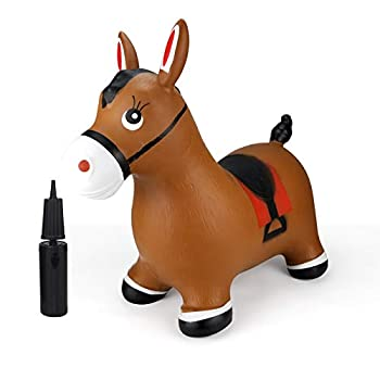 INPANY Bouncy Horse Hopper- Brown Inflatable Jumping Horse Ride on Rubber Bouncing Animal Toys for Kids/ Toddlers/ Children/ Boys/ Girls   Pump Included