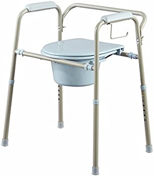 Medline Steel 3-in-1 Bedside Commode w/Microban Antimicrobial Protection