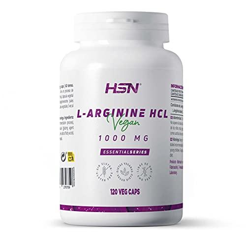 Arginina 1000mg de HSN | L-Arginina HCl de Alta Biodisponibilidad | Óxido Nítrico + Mejora el Rendimiento Deportivo | No-GMO, Vegano, Sin Gluten, Sin Lactosa | 120 Cápsulas Vegetales