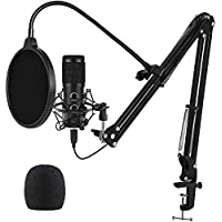TrophyRak 2021 Upgraded USB Microphone with Adjustment Arm Stand, Fits for Windows & Mac PC, Plug & Play Design (Black)