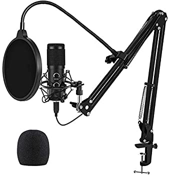 2021 Upgraded USB Microphone for Computer Mic for Gaming Podcast Live Streaming YouTube on PC Mic Studio Bundle with Adjustment Arm Stand Fits for Windows & Mac PC Plug & Play Design Black