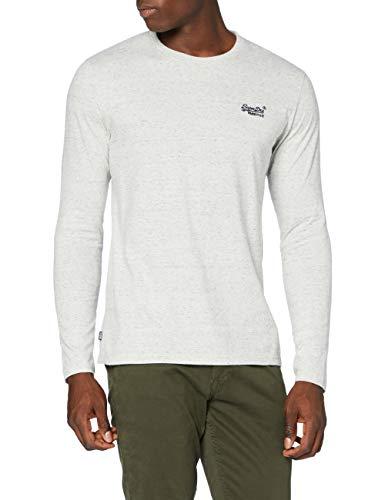 Superdry LS Top Camisa, Alimentador de Abedul Plateado, M para Hombre