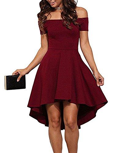 ZJCTUO Damen Kleid Abendkleid Schulterfreies Cocktailkleid Jerseykleid Skaterkleid Knielang Elegant Festlich Asymmetrisches Partykleid, B -Wein-v2, 38(M)-Bust:86cm