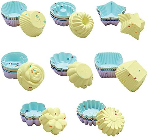 40PCS Silicone Cupcake Baking Cups Set Silicone Baking Cups For Baking Including 8 Shapes Silicone product image