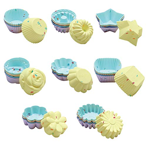 40PCS Silicone Cupcake Baking Cups Set Silicone Baking Cups For Baking, Including 8 Shapes Silicone Muffin Cups Cupcake Molds (Round, Square, Star, Sunflower, Rose, Chrysanthemum, Flower, Pumpkin)