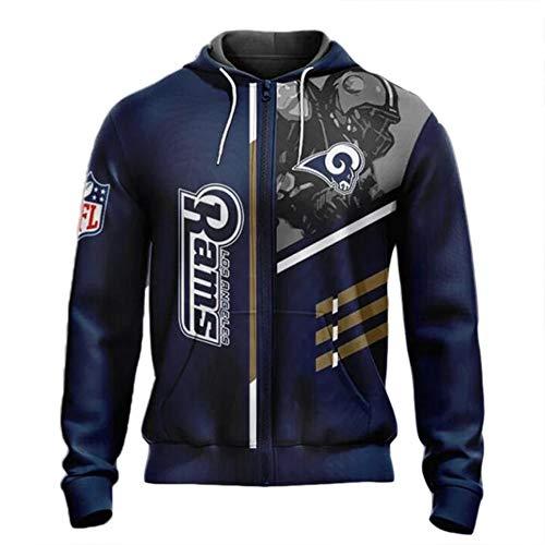 NFL Amerikanisch Fußball Los Angeles Rams Schnelltrocknend Süßigkeiten Farbe Sport T-Shirt Trikot Logo Reißverschluss-Sweatshirt Hoodies