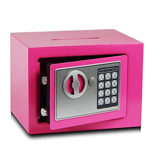 YGuoMing Caja Fuerte Electrónica con Cerradura De Combinación Y Llave, Caja Fuerte para Muebles, Caja Fuerte De Pared, Caja Fuerte De Acero(Rosa)-Pink Coin-Operated Thickened