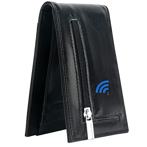 Smart Bluetooth GPS Location Record Mens Wallet Finder Money Clip Wallets Tracker (Black-1)