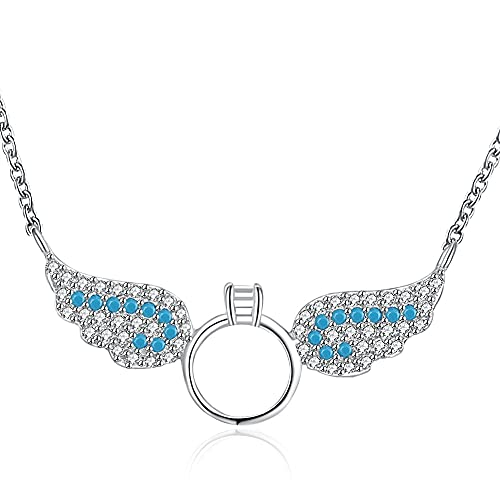 Kkoqmw Alas de ángel Collares Pendientes Plata de Ley 925 Joyas Collar de Piedras semipreciosas de circonita cúbica Transparente