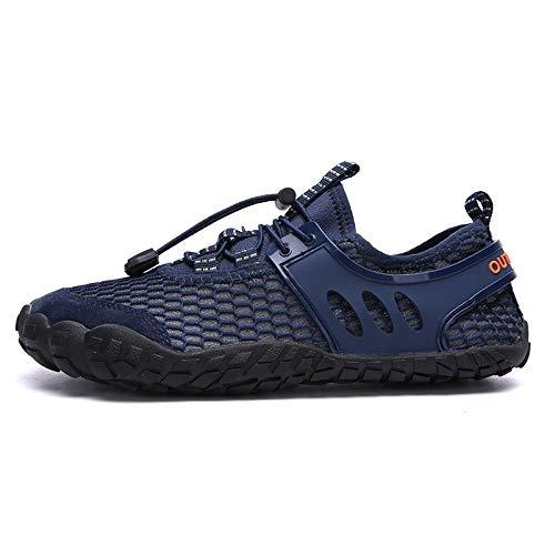Hjd Mode Aqua Schuhe Mann-Sommer-Strand-Sandelholz-Quick Dry Wasser Schuhe Gummischuhe Upstream Schuhe Frau Tauchen Slipper (Color : Blue, Shoe Size : 43)