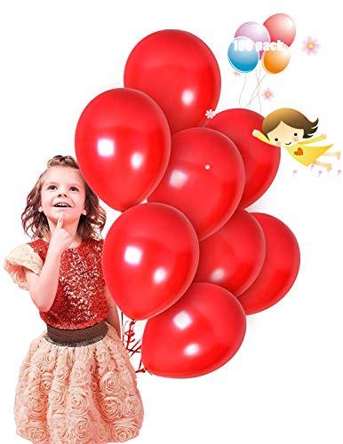100 Piezas Globos Latex de colores variados para Bebe Año Cumpleaños,Niño Bautizos Comunion Baby Shower Azul,Bodas Aniversario Graduacion Fiesta Arco Decoracion (rojo)