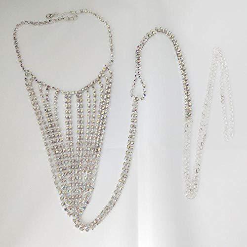Neue Körperkette Modische dekorative Taillenkette Model Woman Strass-Taillenkette im Bikini-Stil Voller Diamant-Tanga-Ausgefallene Diamant Silber