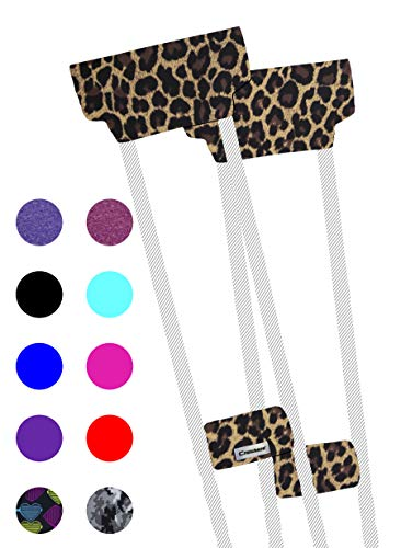 Crutcheze Premium USA Made Crutch Pad and Hand Grip Covers | Comfortable Underarm Padding Washable Breathable Moisture Wicking Orthopedic Products Crutches Accessories (Leopard)