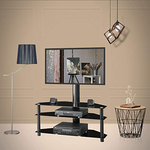 Multi-Function Television Stands Centers Angle and Height Adjustable Tempered Glass TV Stand Holder LCD TV Bracket Plasma TV Bracket Three Layers of Glass Shelf for Multiple Media Devices(Black)
