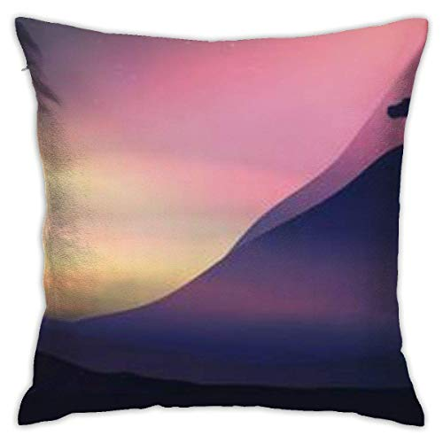 Sunset in The Mountains with A Lone Tree Pillowcase, Double-Sided Printing, Hidden Zip Pillowcase
