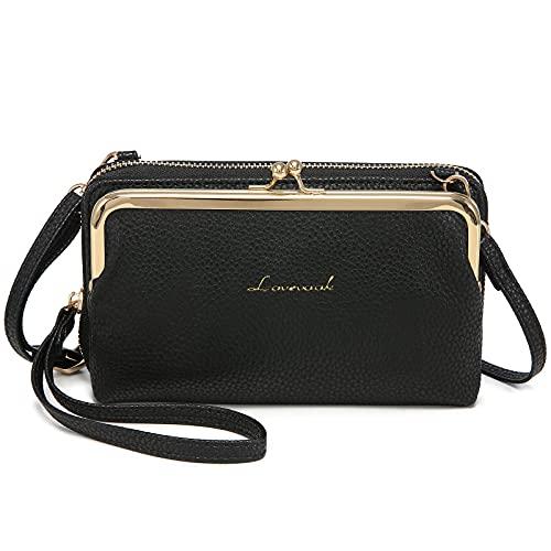 LOVEVOOK Funda para teléfono móvil para mujer, bolso bandolera con cartera, bolso cruzado para teléfono móvil, bolso bandolera negro con tarjetero para iPhone de 7 pulgadas