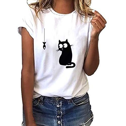 TWIFER Katze Gedruckt Damen Beiläufig Tees Shirt Kurzarm T Shirt Bluse Tops