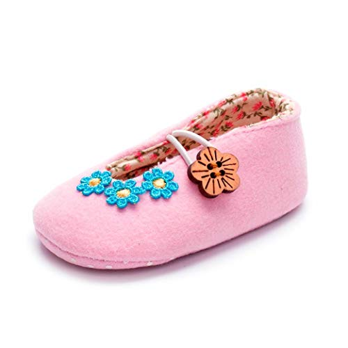 Longra Bambin babyschoenen voor meisjes, bloemendruk, chique kinderschoenen, zachte zool, antislip, bloem, zachte zool, elastisch, knoppen, schoenen 0-6Mois/EU10 Roze