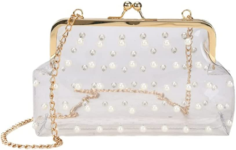 Pearl Beaded Crossbody Bag Transparent Jelly Chain Bag Small Square Bag Clear Shoulder Bag (white)