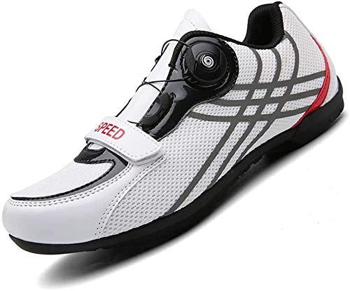JINFAN Zapatillas De Ciclismo para Hombre Zapatillas De Bicicleta Carretera Hebilla De Doble Espina De Fibra De Carbono Ultraligeras Zapatillas De Deporte con Cierre Automático,White-40EU