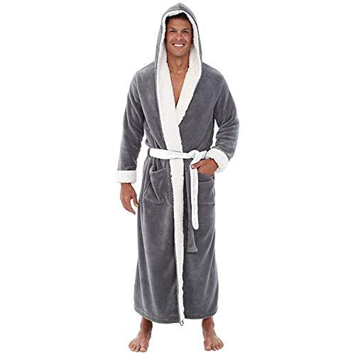 Dasongff Bademantel für Herren Coral Flanell Fleece Morgenmantel mit Kapuze Flauschig Nachtwäsche Kimono Bath-Robe Lang Männer Geschenke