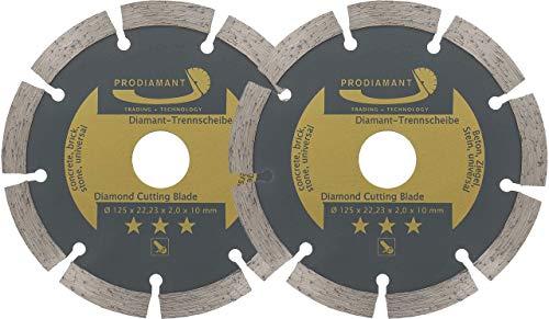 PRODIAMANT 2er Set Diamant-Trennscheibe 125 x 22,2 mm - Beton, Stein, Ziegel, universal 125mm