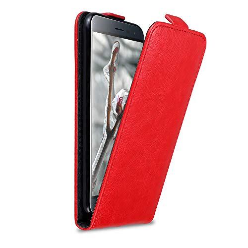 Cadorabo Hülle für Asus ZenFone 3 in Apfel ROT - Handyhülle im Flip Design mit Magnetverschluss - Hülle Cover Schutzhülle Etui Tasche Book Klapp Style