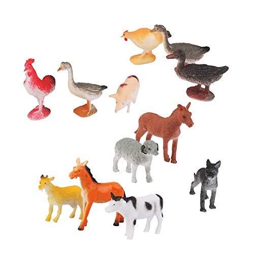 Romote Las Aves De Corral De Plástico Modelo Animal Figuras Cabra Gato Gallo Perro Cerdo Pato De Juguete Niños 12pcs Multicolor