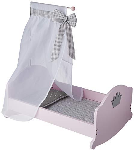 """roba Puppenwiege aus Puppenmöbel Serie """"Sophie"""", Puppenbett zum Wiegen inkl. textiler Ausstattung, Bettwäsche und Himmel, Puppenzubehör rosa"""