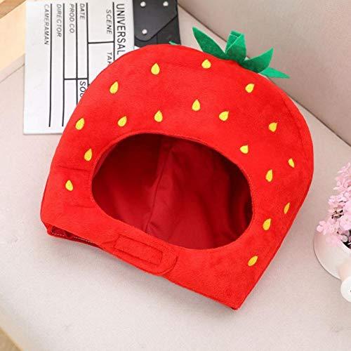 Novelty Fancy Fruit Strawberry Hut Kino Obst Erdbeere Hut Lustige Plüsch Hut Kopfbedeckung Cosplay Requisiten für Halloween Weihnachten Merry Beries Strawberry Hat Lustige Plüsch Mütze