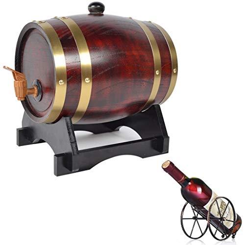 Vintage Eiken vat Eiken Veroudering Barrel 20L, met Wijnrek Geschikt voor opslag Whiskey Wijnlikeur Honing Azijn Handgemaakte Houten Decoratieve Emmer Whiskey Barrel