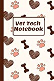 Vet Tech Notebook: Veterinary Technician I Paw, Heart and Bone pattern I 6x9 inches Wide Lined...