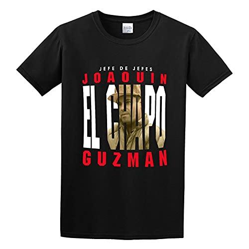 Jefe De Jefes Joaquin El Chapo Guzman Sinaloa Cartel Narco Drug King Funny tee O Neck Men Shirt S, Black