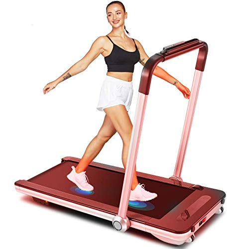 Woman in tank top and shorts running on a Sportstech F31 Treadmill
