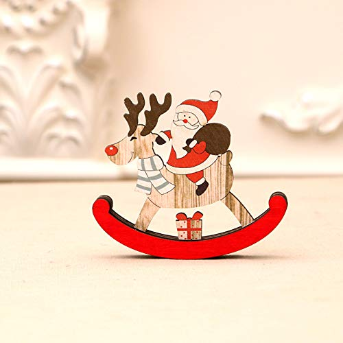 CNZXCO Christmas Decoration, Decoration Ornament Xmas Decoration Christmas Wooden Rocking Horse Santa Claus Presents (The old man,L)