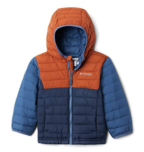 Columbia Youth Powder Lite Chaqueta con Capucha para niño, Niños, Azul, Rojo (Coll Navy, Dark Adobe, Night Tide), M