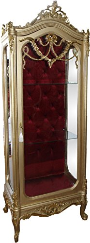 Casa Padrino Barock Vitrine Gold/Bordeaux H 200 cm, B 68 cm - Vitrinenschrank - Wohnzimmerschrank...