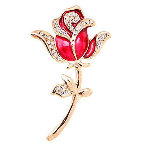 Celebrity Jewellery elegante cristal austriaco de 18 quilates de oro rosa plateado Red Rose Flor Seguridad Broche